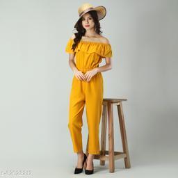 Trendy Women's Yellow Stripe Off-Shoulder Elastic Waist Soft Ruffle Striped Jumpsuit
