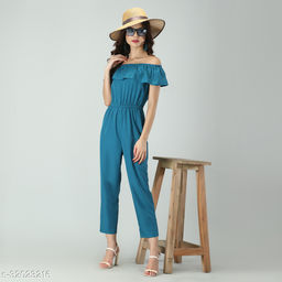 Trendy Women's Stripe Off-Shoulder Elastic Waist Soft Ruffle Striped Jumpsuit