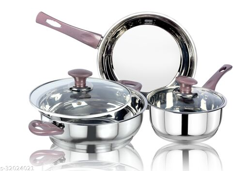 thical KITCHENART Stainless Steel Encapsulated Bottom 5pcs Cookware Set Soft Touch Peach Handle Mirror Finish Sauce Pan 18cm, Fry Pan 26cm & Kadhai 26cm Diameter with Glass Lid Induction Bottom Cookware Set