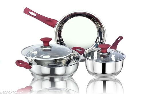 thical KITCHENART Stainless Steel Encapsulated Bottom 5pcs Cookware Set Soft Touch Red Handle Mirror Finish Sauce Pan 18cm, Fry Pan 26cm & Kadhai 26cm Diameter with Glass Lid Induction Bottom Cookware Set