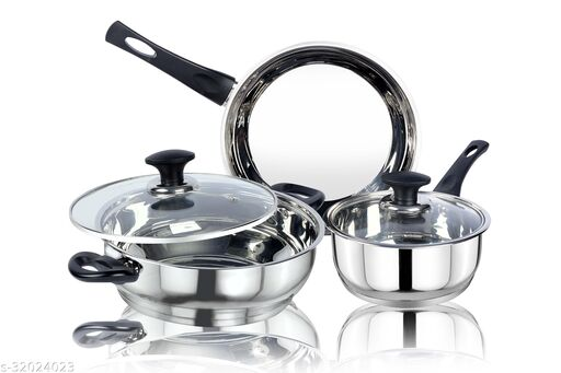 thical KITCHENART Stainless Steel Encapsulated Bottom 5pcs Cookware Set Soft Touch Black Handle Mirror Finish Sauce Pan 18cm, Fry Pan 26cm & Kadhai 26cm Diameter with Glass Lid Induction Bottom Cookware Set