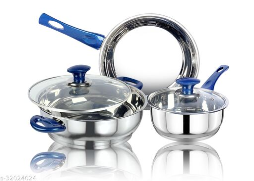 thical KITCHENART Stainless Steel Encapsulated Bottom 5pcs Cookware Set Soft Touch Blue Handle Mirror Finish Sauce Pan 18cm, Fry Pan 26cm & Kadhai 26cm Diameter with Glass Lid Induction Bottom Cookware Set