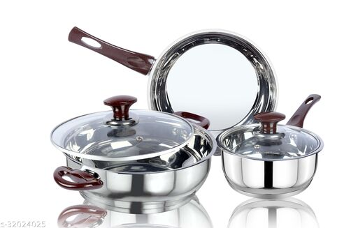 thical KITCHENART Stainless Steel Encapsulated Bottom 5pcs Cookware Set Soft Touch Choco Handle Mirror Finish Sauce Pan 18cm, Fry Pan 26cm & Kadhai 26cm Diameter with Glass Lid Induction Bottom Cookware Set