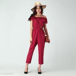 Trendy Women's Marron Stripe Off-Shoulder Elastic Waist Soft Ruffle Striped Jumpsuit
