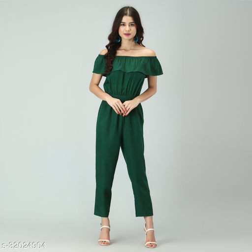 Trendy Women's Bottle Green Stripe Off-Shoulder Elastic Waist Soft Ruffle Striped Jumpsuit