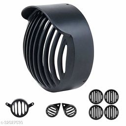 A4S Complete PVC Plastic Grill Set for Royal Enfield Bullet Classic 350/500 BS-4 Model (Black with Cap, Set of 8)