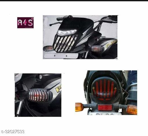 A4S Black Plastic Indicator Grill Cover Bike Headlight Grill (Black) for Platina (10 pc 6 set)
