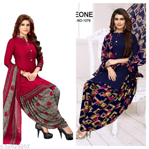 vastra printed dress materials for women(pack of 2)