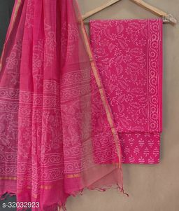 Beautiful Collection Of Cotton Suit Set With Kota Doria Duptta In Hand Block Print