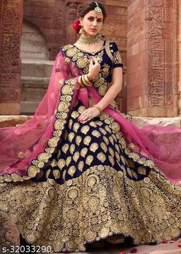 Womens Velvet Embroidered Work Lahenga Choli