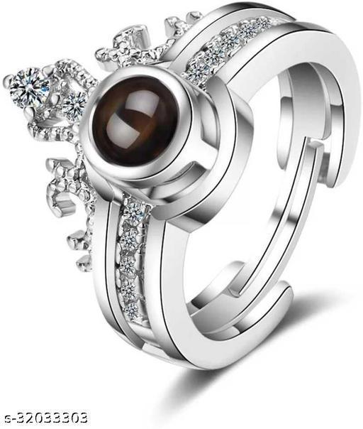 VIGHNRAJ JEWELS 100 Languages I Love you Memory Crown Ring Copper Crystal Titanium Plated  Ring