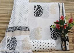 Traditional Handblock Printed Cotton Suits With Chiffon Dupata and Cotton Bottom Set