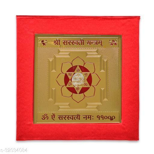 KESAR ZEMS ENERGIESED Gold Plated Saraswati Yantra(7.5 X 7.5 X 0.01 CM) Golden