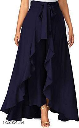 Women's Ruffel Pants Split High Waist Maxi Long Crepe Plazzo Overlay Pants Skirt for Girls