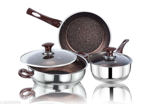 Ethical KITCHENART Stainless Steel Encapsulated Bottom 5pcs Cookware Set Choco Sauce Pan 18cm, Fry Pan 26cm & Kadhai 26cm Diameter with Glass Lid Induction Bottom Cookware Set
