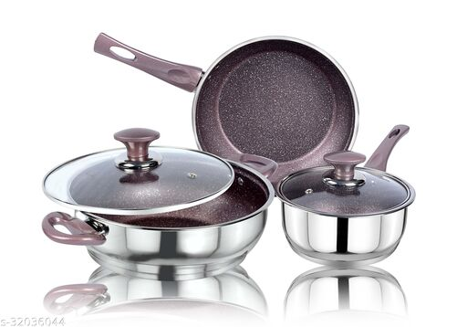 Ethical KITCHENART Stainless Steel Encapsulated Bottom 5pcs Cookware Set Peach Sauce Pan 18cm, Fry Pan 26cm & Kadhai 26cm Diameter with Glass Lid Induction Bottom Cookware Set