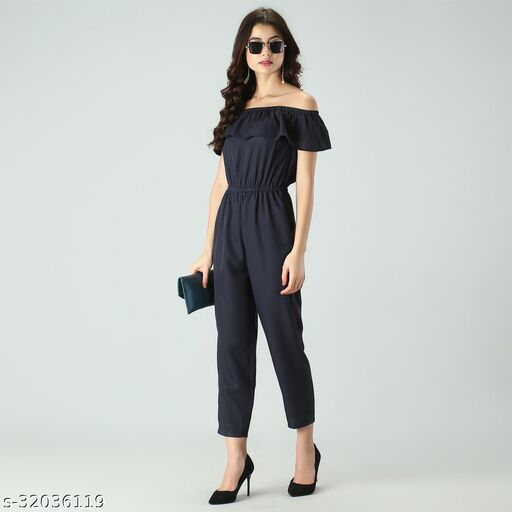 Trendy Women's Navy Blue Stripe Off-Shoulder Elastic Waist Soft Ruffle Striped Jumpsuit