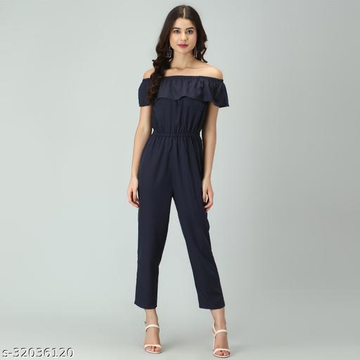 Trendy Women's Black Stripe Off-Shoulder Elastic Waist Soft Ruffle Striped Jumpsuit