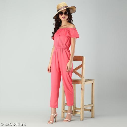 Trendy Women's Coral Stripe Off-Shoulder Elastic Waist Soft Ruffle Striped Jumpsuit