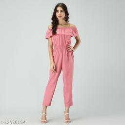 Trendy Women's Pink Stripe Off-Shoulder Elastic Waist Soft Ruffle Striped Jumpsuit