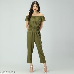 Trendy Women's khaki Stripe Off-Shoulder Elastic Waist Soft Ruffle Striped Jumpsuit