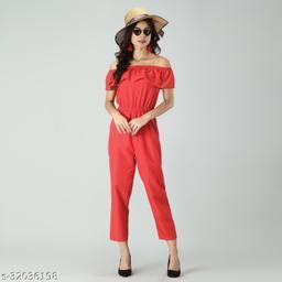 Trendy Women's Red Stripe Off-Shoulder Elastic Waist Soft Ruffle Striped Jumpsuit