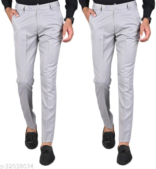 MANCREW Men's Slim Fit Formal Trousers - Light Grey, Light Grey Combo (Pack Of 2)