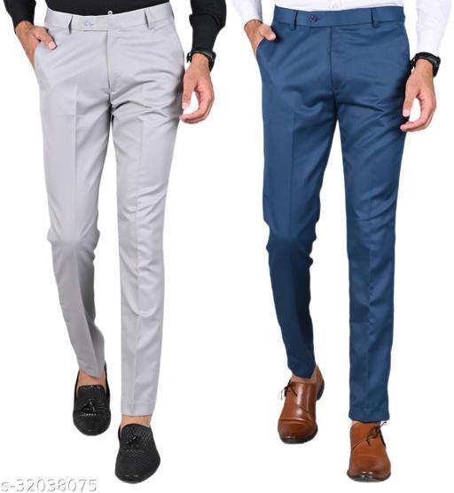 MANCREW Men's Slim Fit Formal Trousers - Light Grey, Blue Combo (Pack Of 2)