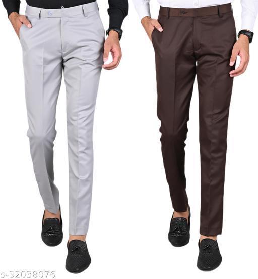 MANCREW Men's Slim Fit Formal Trousers - Light Grey, Brown Combo (Pack Of 2)