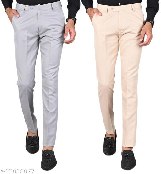 MANCREW Men's Slim Fit Formal Trousers - Light Grey, Cream Combo (Pack Of 2)