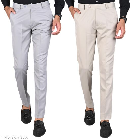 MANCREW Men's Slim Fit Formal Trousers - Light Grey, Beige Combo (Pack Of 2)
