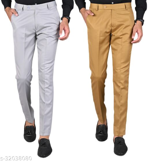 MANCREW Men's Slim Fit Formal Trousers - Light Grey, Khaki Combo (Pack Of 2)