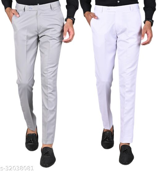 MANCREW Men's Slim Fit Formal Trousers - Light Grey, White Combo (Pack Of 2)