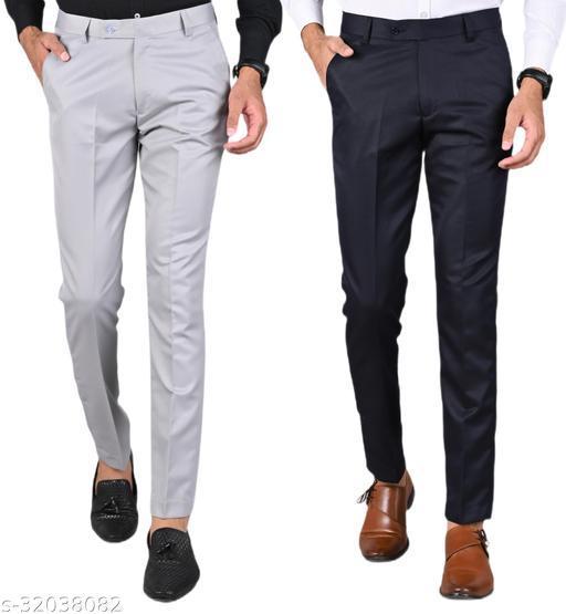 MANCREW Men's Slim Fit Formal Trousers - Light Grey, Navy Blue Combo (Pack Of 2)