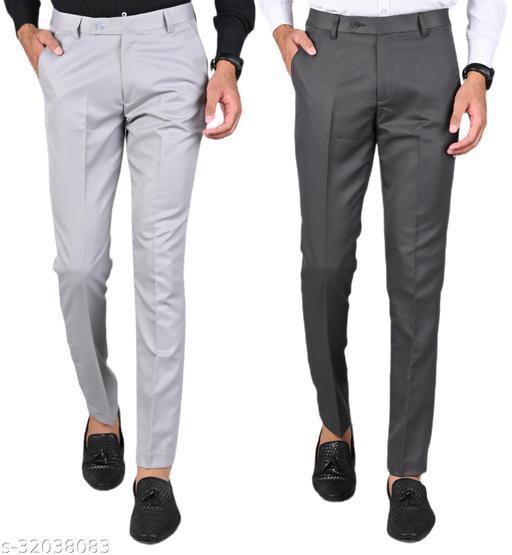 MANCREW Men's Slim Fit Formal Trousers - Light Grey, Dark Grey Combo (Pack Of 2)