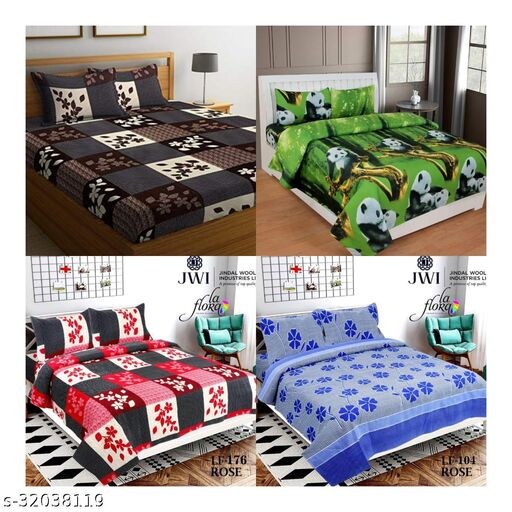 Choco Indian Glace Cotton 6d 4 Double Premium Bedsheets With 8 Pillow Covers