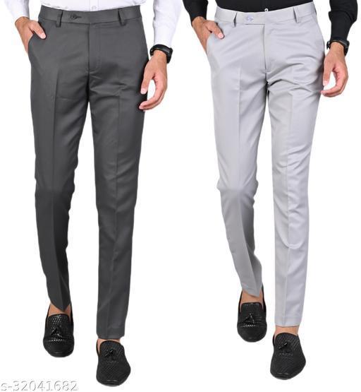 MANCREW Men's Slim Fit Formal Trousers - Dark Grey, Light Grey Combo (Pack Of 2)