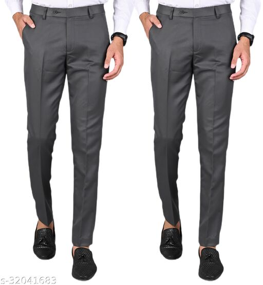 MANCREW Men's Slim Fit Formal Trousers - Dark Grey, Dark Grey Combo (Pack Of 2)
