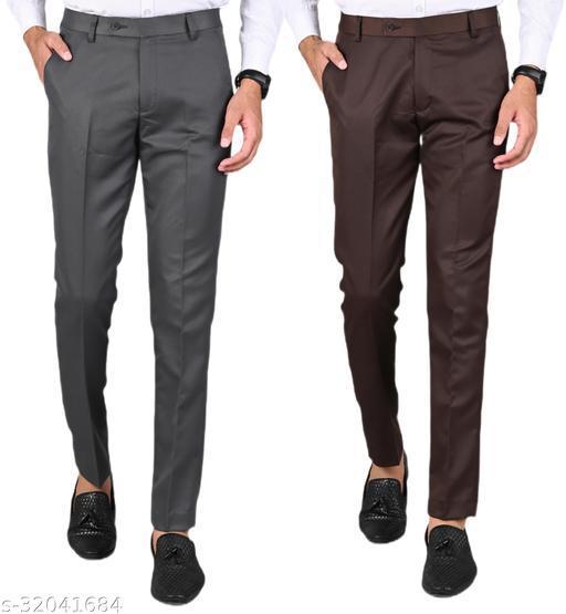 MANCREW Men's Slim Fit Formal Trousers - Dark Grey, Brown Combo (Pack Of 2)