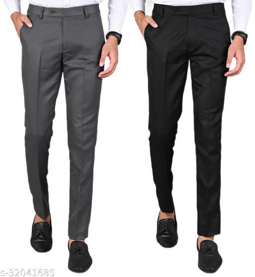 MANCREW Men's Slim Fit Formal Trousers - Dark Grey, Black Combo (Pack Of 2)