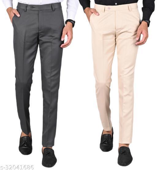 MANCREW Men's Slim Fit Formal Trousers - Dark Grey, Cream Combo (Pack Of 2)