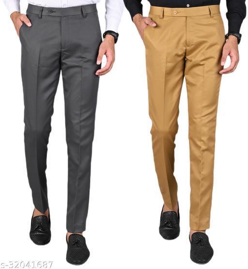 MANCREW Men's Slim Fit Formal Trousers - Dark Grey, Khaki Combo (Pack Of 2)