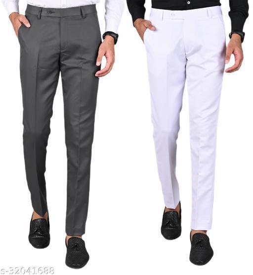 MANCREW Men's Slim Fit Formal Trousers - Dark Grey, White Combo (Pack Of 2)