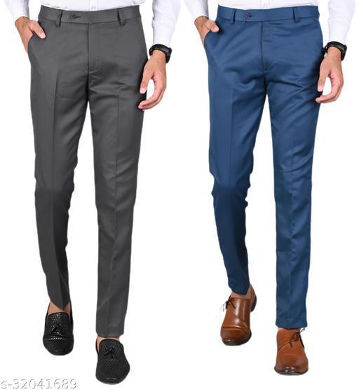 MANCREW Men's Slim Fit Formal Trousers - Dark Grey, Blue Combo (Pack Of 2)
