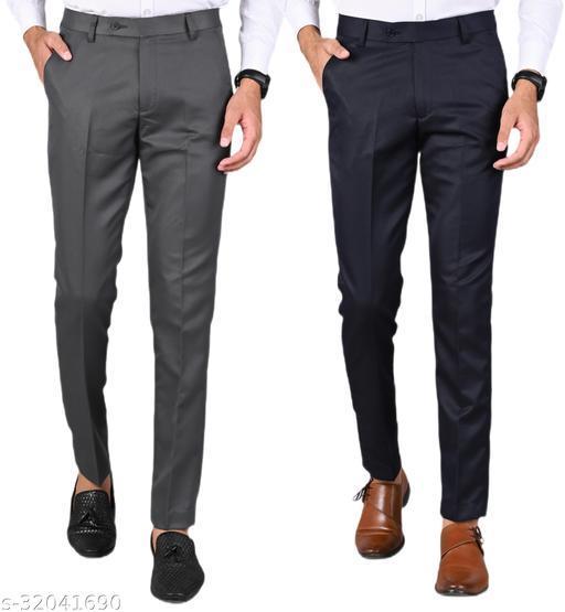 MANCREW Men's Slim Fit Formal Trousers - Dark Grey, Navy Blue Combo (Pack Of 2)