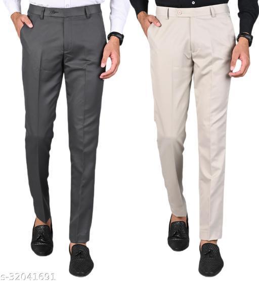 MANCREW Men's Slim Fit Formal Trousers - Dark Grey, Beige Combo (Pack Of 2)