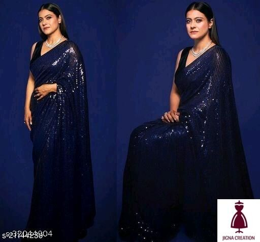 sequence work saree for women specially made for occations and summer with shiny colours trending sarees bollywood saree