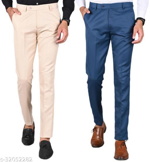 MANCREW Men's Slim Fit Formal Trousers - Cream, Blue Combo (Pack Of 2)
