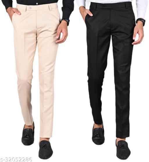 MANCREW Men's Slim Fit Formal Trousers - Cream, Black Combo (Pack Of 2)