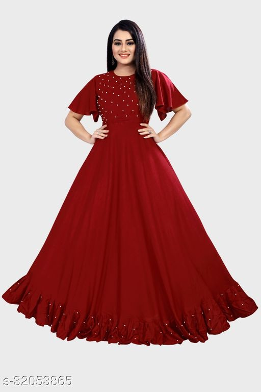 Jalar Moti Maroon Kurti Come Gown